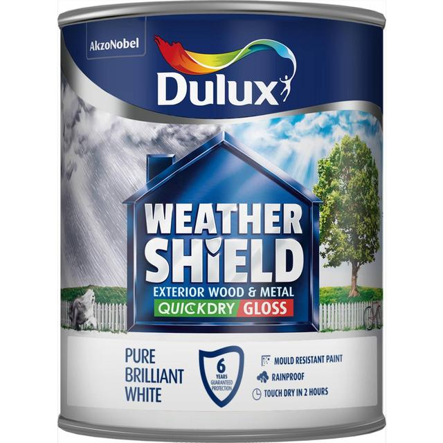 Dulux Weathershield Quick Drying Exterior Gloss Pure Brilliant White 750ml From Ocado