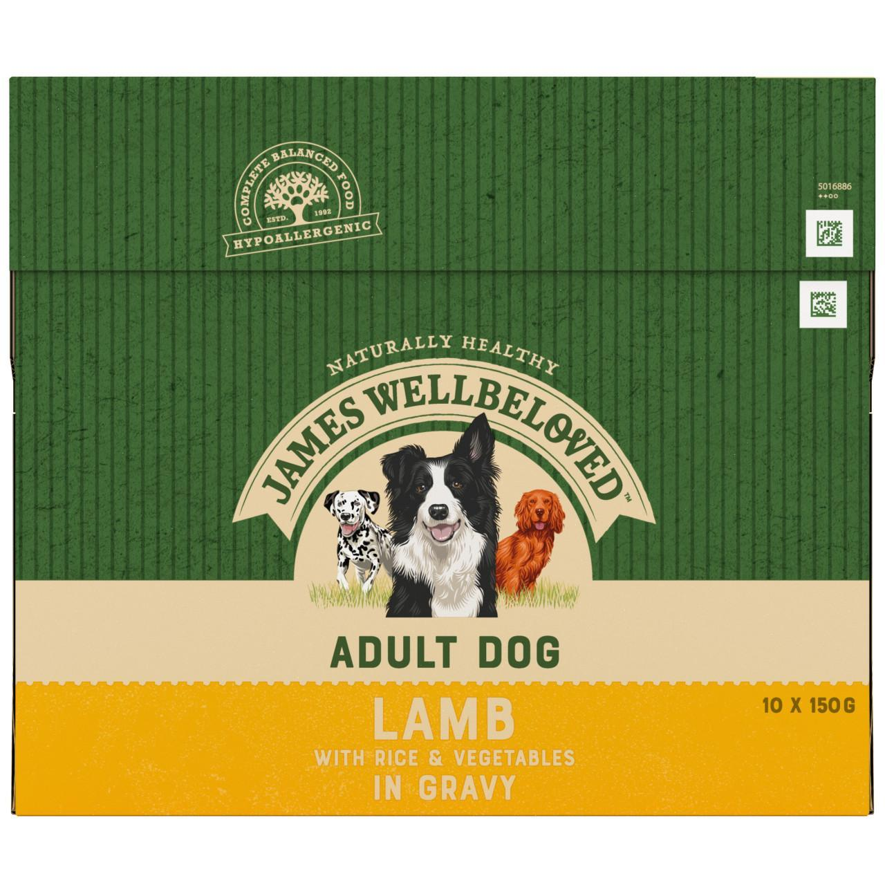 An image of James Wellbeloved Adult Dog Lamb & Rice Pouches