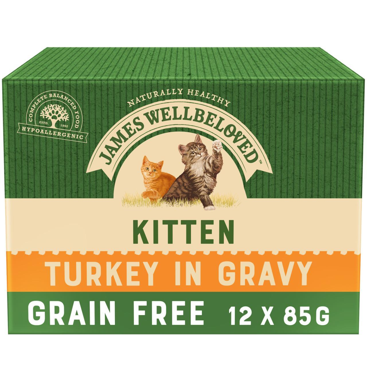 An image of James Wellbeloved Grain Free Kitten Turkey Pouches