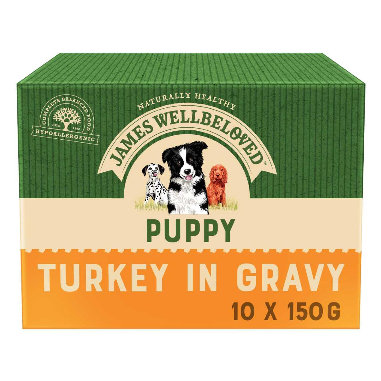 An image of James Wellbeloved Puppy Turkey & Rice Pouches